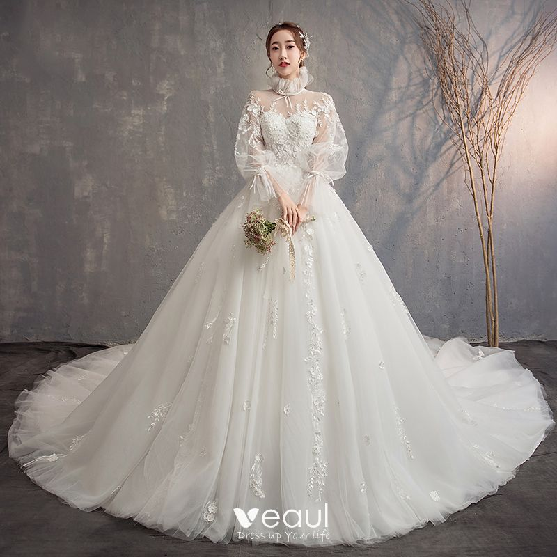 Vintage / Retro Ivory See-through Wedding Dresses 2019