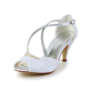 Belles Lanières Bout Ouvert Sandales De Satin Blanc Chaussures De Mariée