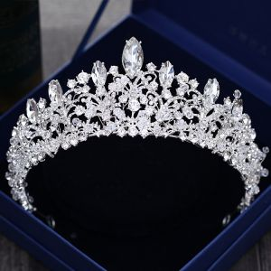 Luxus / Herrlich Silber Hochzeit Diadem 2018 Metall Strass Kristall Brautaccessoires