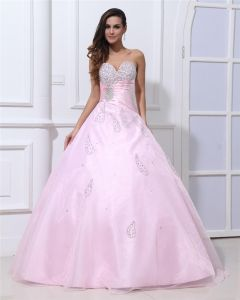 Sweetheart Sleeveless Lace Up Floor Length Ruffle Beading Organza Satin Woman Prom Dress