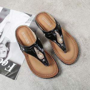 Fashion Summer Black Street Wear Slipper & Flip flops 2020 Pearl Rhinestone Flat Open / Peep Toe Womens Shoes