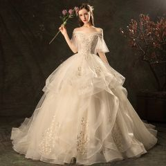 Affordable Champagne Wedding Dresses 2019 Ball Gown Off-The-Shoulder Bell sleeves Backless Appliques Lace Beading Chapel Train Cascading Ruffles