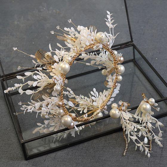 Mooie / Prachtige Goud Tiara Oorbellen Bruidssieraden 2020 Legering Parel Rhinestone Blad Huwelijk Accessoires