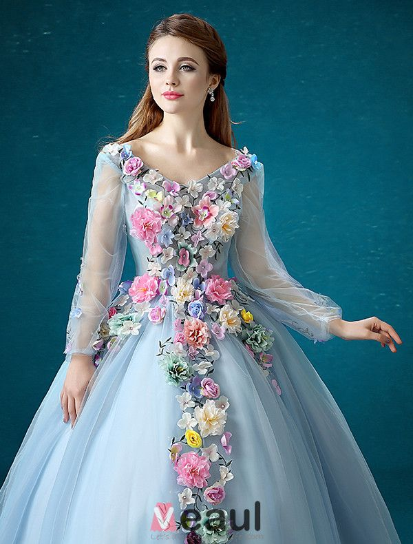 Flower Fairy Dress 2016 Long Sleeves Backless Handmade Colorful Flowers Long Prom Dress
