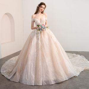 Luxury / Gorgeous Champagne Wedding Dresses 2018 Ball Gown Off-The-Shoulder Short Sleeve Backless Appliques Lace Glitter Tulle Pearl Rhinestone Cathedral Train Ruffle