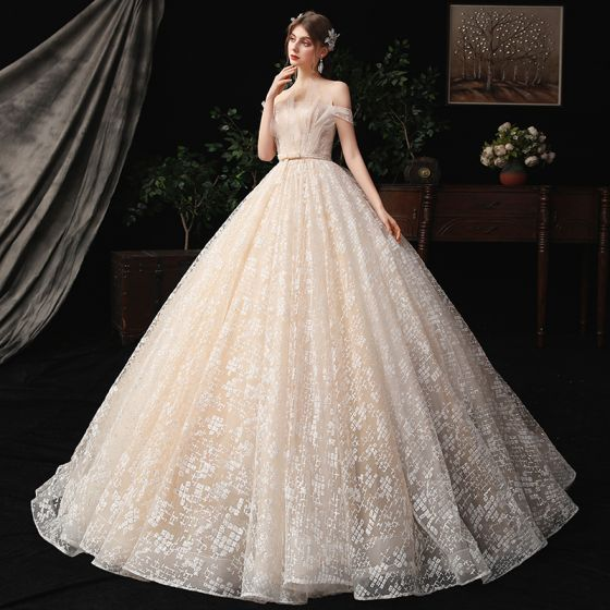 Charming Champagne Wedding Dresses 2020 A-Line / Princess Off-The-Shoulder Beading Bow Pearl Sequins Lace Flower Sleeveless Backless Court Train