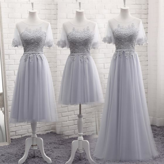 93361520a7c4 Chic / Beautiful Grey See-through Summer Bridesmaid Dresses 2018 A-Line /  Princess Scoop Neck Short Sleeve Appliques Lace Sash Ruffle Backless Wedding  Party ...