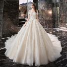 Chic / Beautiful Ivory Wedding Dresses 2019 A-Line / Princess Off-The-Shoulder Appliques Lace Flower Short Sleeve Backless Cathedral Train