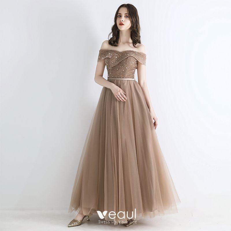 fce8ac1e06b4 Elegantes Champán Vestidos de noche 2019 A-Line / Princess Fuera Del ...