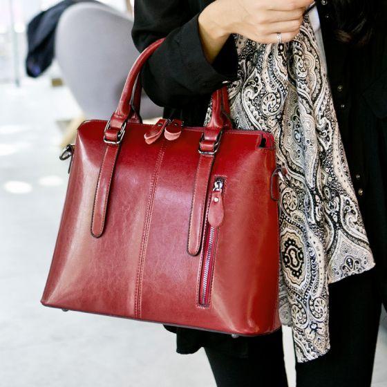 Schlicht Rot Quadratische Handtasche Schultertaschen Umhängetasche Umhängetaschen 2021 Leder Freizeit Damentaschen