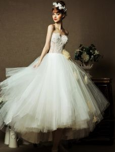 2015 Sweetheart Sleeveless Tea-length Organza Ball Gown Wedding Dress