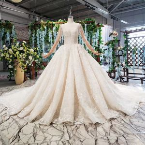 Luxury / Gorgeous High-end Champagne Ball Gown Wedding Dresses 2020 Long Sleeve U-Neck 3D Lace Handmade  Beading Appliques Backless Crystal Pearl Rhinestone Cathedral Train Wedding