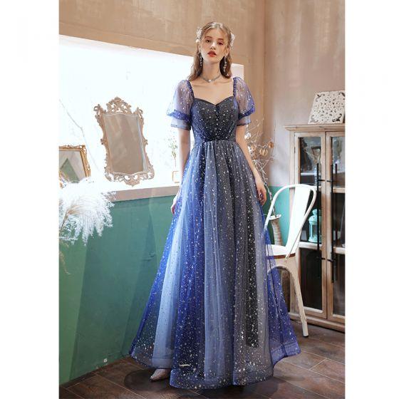 Mode Ocean Blå Balklänningar 2021 Prinsessa Fyrkantig Ringning Rhinestone Paljetter Korta ärm Halterneck Rosett Långa Formella Klänningar