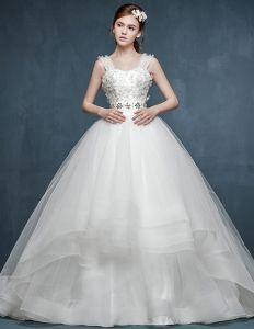 2015 Winter Fashion Flowers Trailing Bridal Wedding Dress