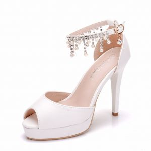 Modern / Fashion White Wedding Shoes 2018 Pearl Rhinestone Tassel 11 cm Stiletto Heels Open / Peep Toe Wedding High Heels