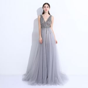 Chic / Beautiful Grey Evening Dresses  2017 A-Line / Princess Beading Sequins Split Front V-Neck Backless Sleeveless Sweep Train Formal Dresses