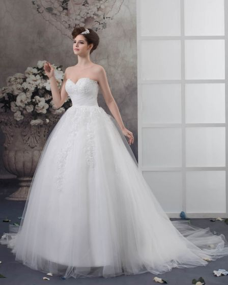 Tulle Pleated Applique Beading Sweetheart Chapel Bridal Ball Gown Wedding Dress