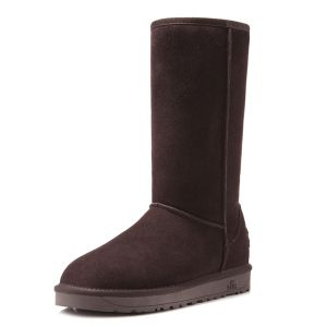 Classic Thick Genuine Leather Women's Choclate Winter Snow Boots