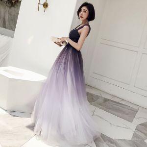 Chic / Belle Grape Dégradé De Couleur Robe De Bal 2018 Princesse Encolure Carrée Sans Manches Dos Nu Longue Robe De Ceremonie