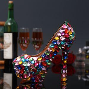 Sexy Multifarben Kristall Strass Karneval Club Pumps 2020 Leder Wasserdichte 14 cm Stilettos Spitzschuh Pumps