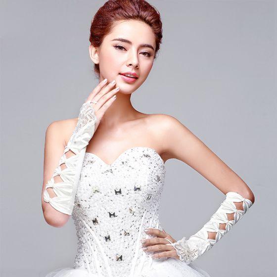Long Pierced Hand-beaded White Satin Bridal Gloves