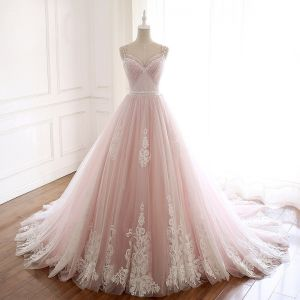 Modern / Fashion Blushing Pink Summer Beach Wedding Dresses 2018 A-Line / Princess Spaghetti Straps Sleeveless Backless Appliques Lace Beading Crystal Sash Ruffle Chapel Train