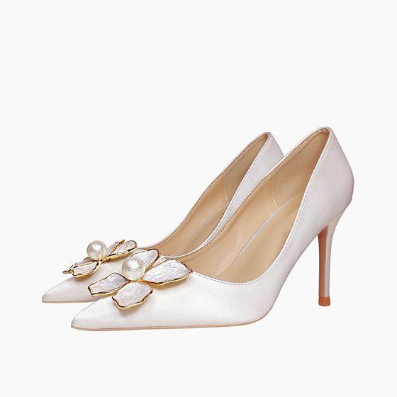 Elegantes Marfil Noche Seda Satén Tacones 2021 Perla 8 cm Stilettos / Tacones De Aguja Punta Estrecha Tacones High Heels