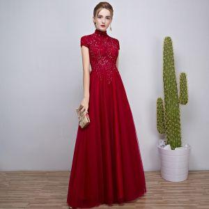 Chinese style Burgundy Evening Dresses  2018 A-Line / Princess Beading Crystal Sequins High Neck Short Sleeve Floor-Length / Long Formal Dresses