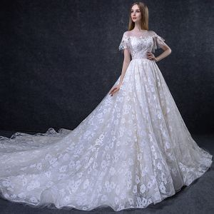 Chic / Beautiful Champagne Wedding Dresses 2018 A-Line / Princess Appliques Sequins Scoop Neck Backless Short Sleeve Cathedral Train Wedding