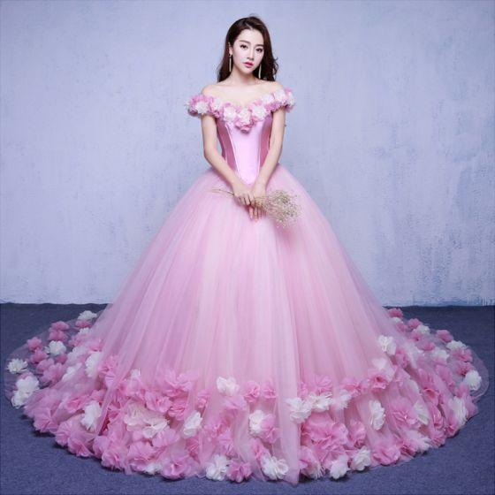 Eleganckie Cukierki Różowy Suknie Ślubne 2018 Suknia Balowa Aplikacje Przy Ramieniu Bez Pleców Kótkie Rękawy Trenem Kaplica Ślub
