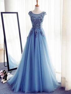 eb0b32e1b Vestidos De Gala Hermosos 2017 Que Rebordea El Vestido Del Cordón Del  Applique Del Neckline De