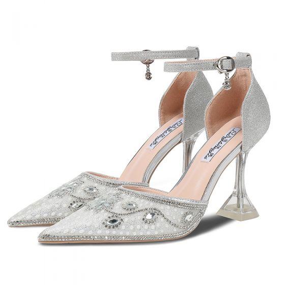 Glitzernden Silber Glanz Brautschuhe 2020 Knöchelriemen Strass Pailletten 9 cm Stilettos Spitzschuh Hochzeit High Heels