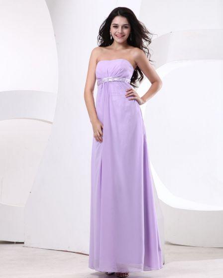 Women Chiffon Strapless Floor Length Bridesmaid Dresses