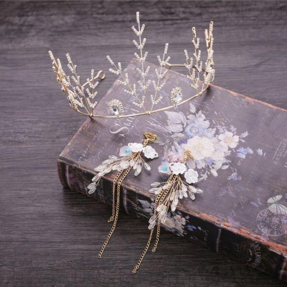 Chic / Beautiful Gold Metal Accessories 2018 Crystal Flower Earrings Rhinestone Tiara Bridal Jewelry