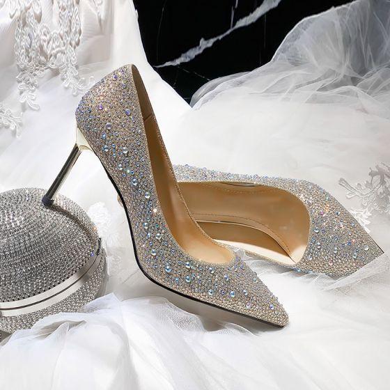 Bling Bling Champagne Wedding Shoes 2020 Rhinestone 8 Cm Stiletto Heels Pointed Toe Wedding Pumps