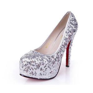 Plate-forme De Paillettes Argent Aiguille Chaussures Bout Rond Talons De Mariée Avec Des Sangles