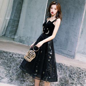 Chic / Beautiful Little Black Dress 2019 A-Line / Princess Shoulders Sleeveless Star Embroidered Glitter Sequins Tea-length Ruffle Backless Graduation Dresses