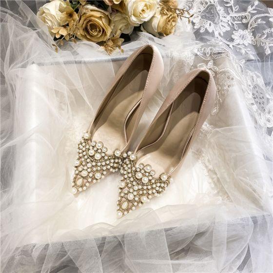 Elegante Champagner Perle Strass Brautschuhe 2021 Satin Hochhackige 10 cm Spitzschuh Hochzeit Pumps Thick Heels
