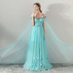 Flower Fairy Pool Blue Summer Evening Dresses  2018 A-Line / Princess Spaghetti Straps Strapless Short Sleeve Appliques Flower Sash Watteau Train Ruffle Backless Formal Dresses