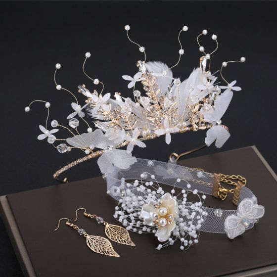 Romántico Encantador Blanco Pendientes Tocados 2019 3 piezas mariposa Hoja Perla Rhinestone Hecho a mano Boda Gala Accesorios