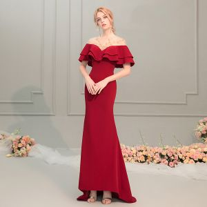 Charming Red See-through Evening Dresses  2019 Trumpet / Mermaid Scoop Neck Short Sleeve Beading Sweep Train Ruffle Backless Formal Dresses