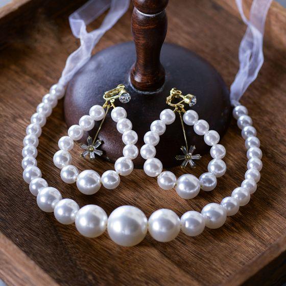 Eleganta Elfenben Pannband Pärla Brud Huvudbonad 2020 Snörning Hårsmycken Örhängen Brudsmycken