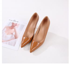 Modest / Simple Brown Office OL Pumps 2020 Leather 10 cm Stiletto Heels Pointed Toe Pumps
