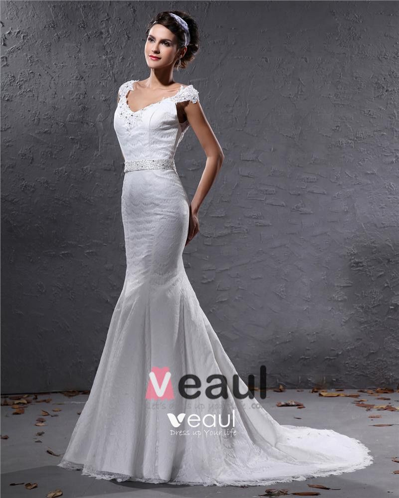 Elegant Lace Satin Beaded V Neck Floor Length Mermaid Wedding Dress