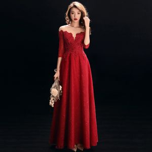 Best Red See-through Evening Dresses  2019 A-Line / Princess Scoop Neck 3/4 Sleeve Appliques Lace Rhinestone Beading Floor-Length / Long Ruffle Backless Formal Dresses