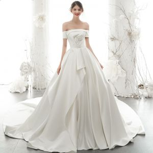 High-end Ivory Satin Wedding Dresses 2020 A-Line / Princess Off-The-Shoulder Pearl Sequins Short Sleeve Backless Cathedral Train