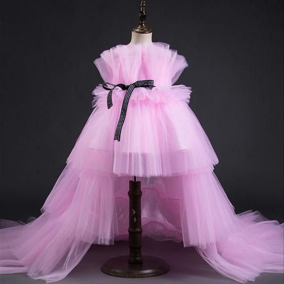 Haute Basse Rose Bonbon Robe Ceremonie Fille 2019 Princesse Encolure