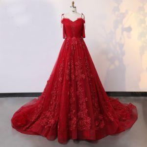Unique Fabuleux Rouge Robe De Mariée 2020 Princesse V-Cou 1/2 Manches Fait main Appliques Dos Nu Couleur Unie Chapel Train Mariage