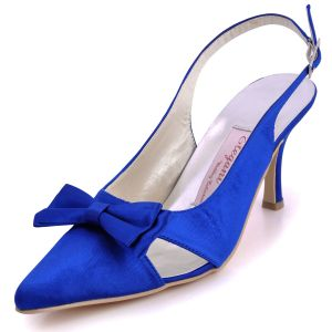 Blue With White Tip With A Bow In Satin Wedding Shoes Banquet