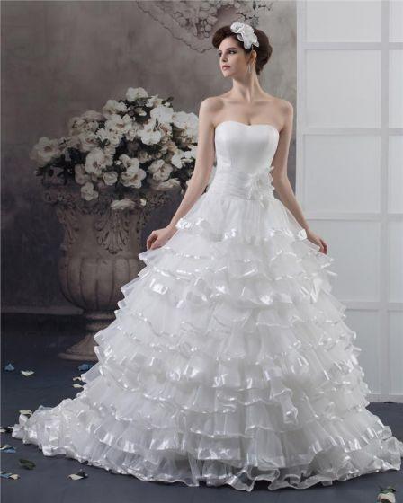 Alskling Beading Blomma Golv Langd Garn Balklänning Brudklänningar Bröllopsklänningar